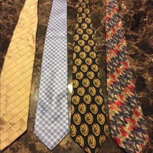 Men's designer silk tie lot of 4
